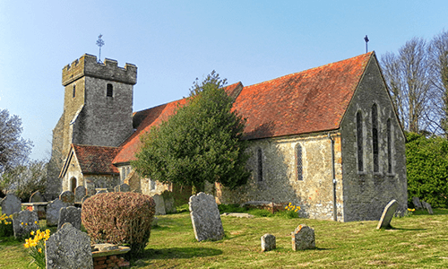Church building near Shoreham